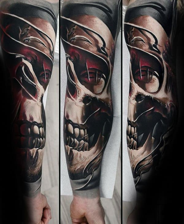Mens 3d Skull Unique Sleeve Tattoo