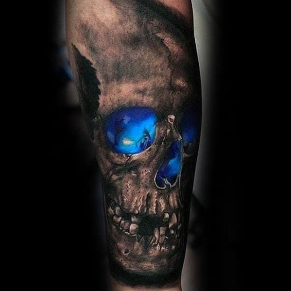 Mens 3d Skull With Glowing Blue Ink Design Guys Forearm Sleeve Tattoo