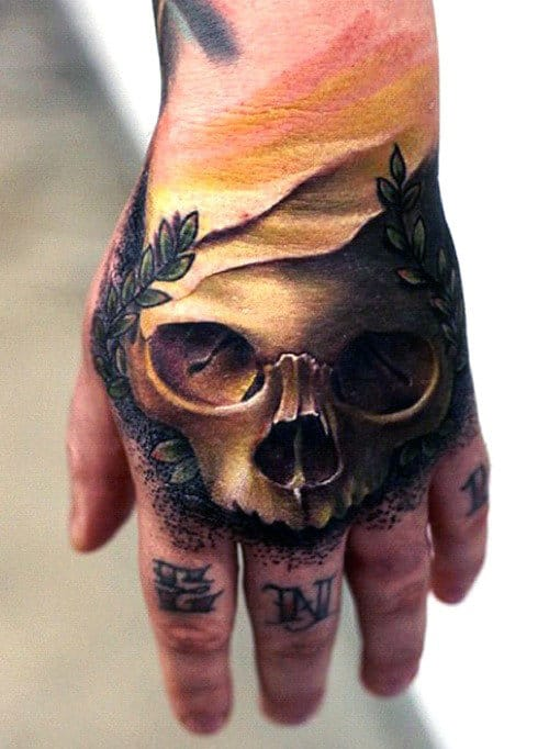 Mens 3d Skull With Olive Branches Hand Tattoo