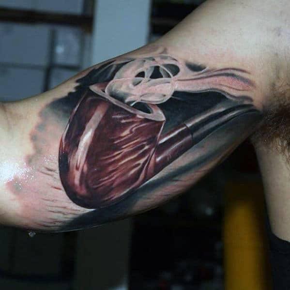 Mens 3d Smoking Pipe Inner Arm Tattoo