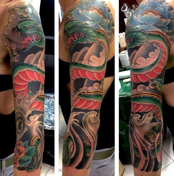 Men's 3D Snake Tattoo