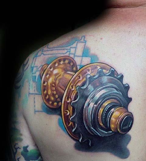 Mens 3d Sprocket Gear Bmx Upper Back Shoulder Tattoo