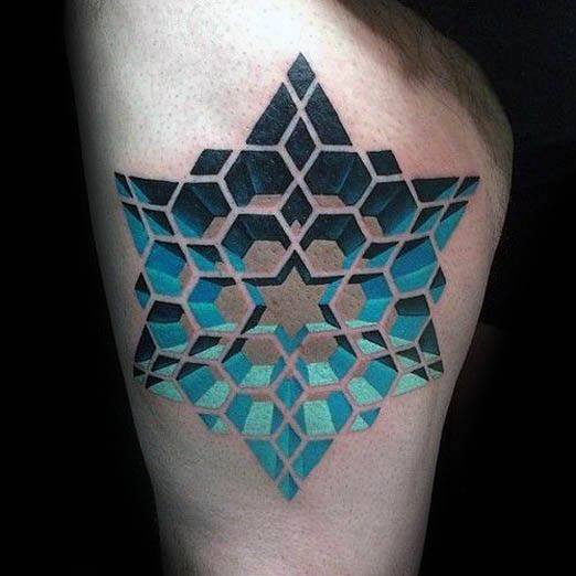 Mens 3d Star Tattoo Design Inspiration On Thigh Of Leg