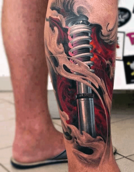 Men's 3D Tattoos Shock On Leg