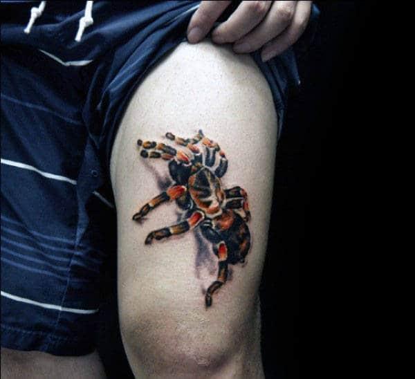 Mens 3d Thigh Tarantula Tattoo Of Spider