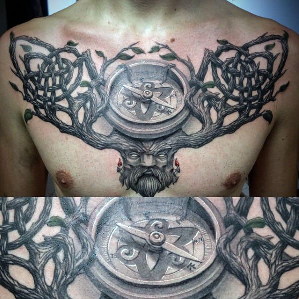 Mens 3d Tree Branches Compass Chest Tattoo