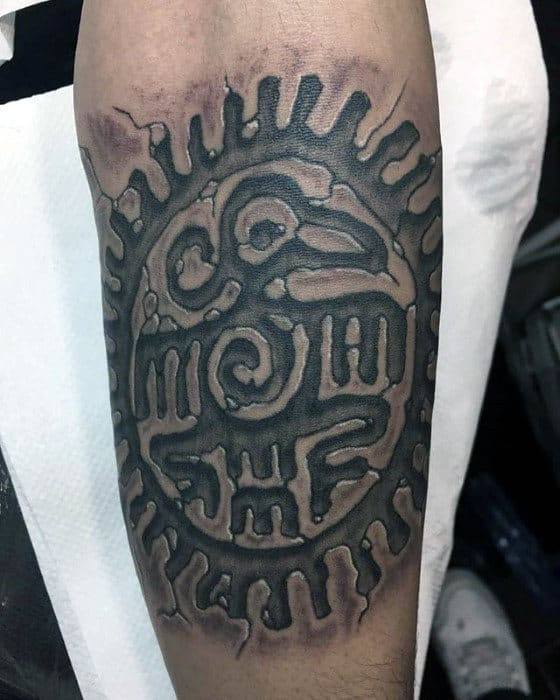 Mens 3d Tribal Outer Forearm Tattoo Ideas