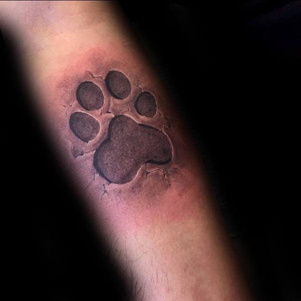 Mens 3d Ultra Realistic Dog Paw Stone Forearm Tattoos