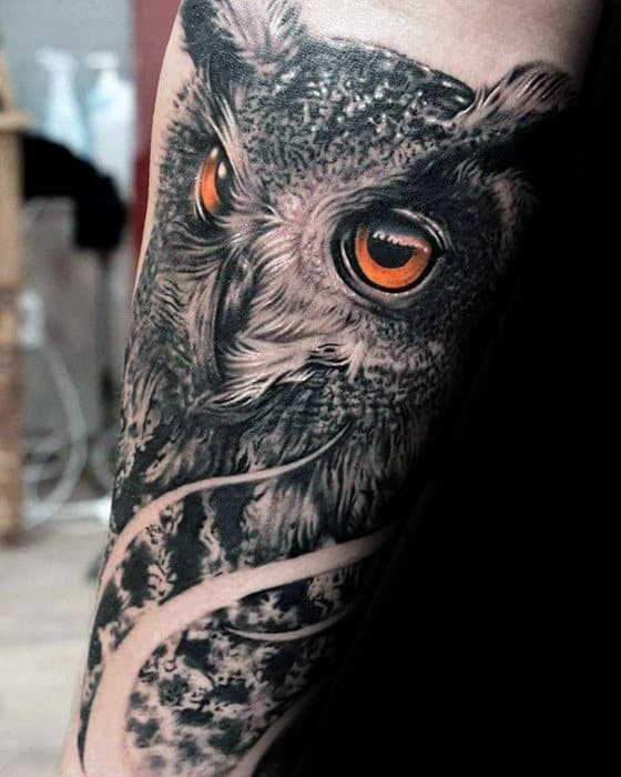 Mens 3d Ultra Realsitic Owl Negative Space Forearm Sleeve Tattoos