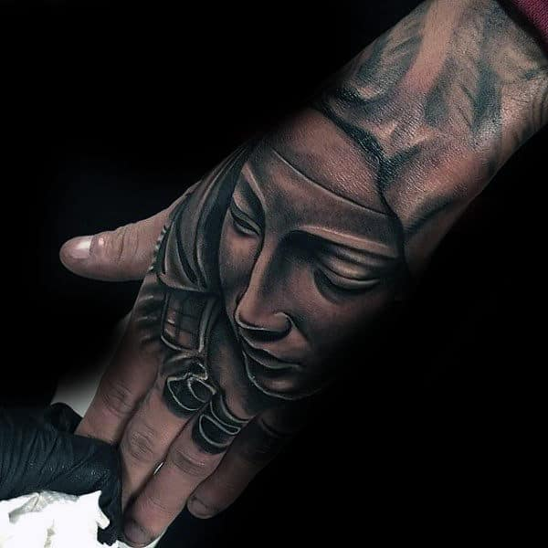 Mens 3d Virgin Mary Hand Tattoos