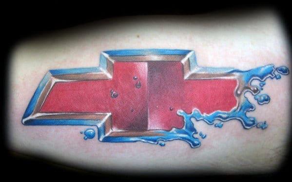 Mens 3d Water Splashing Chevrolet Logo Arm Tattoo
