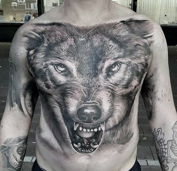 Mens 3d Wolf Head Different Realistic Chest Tattoo Ideas