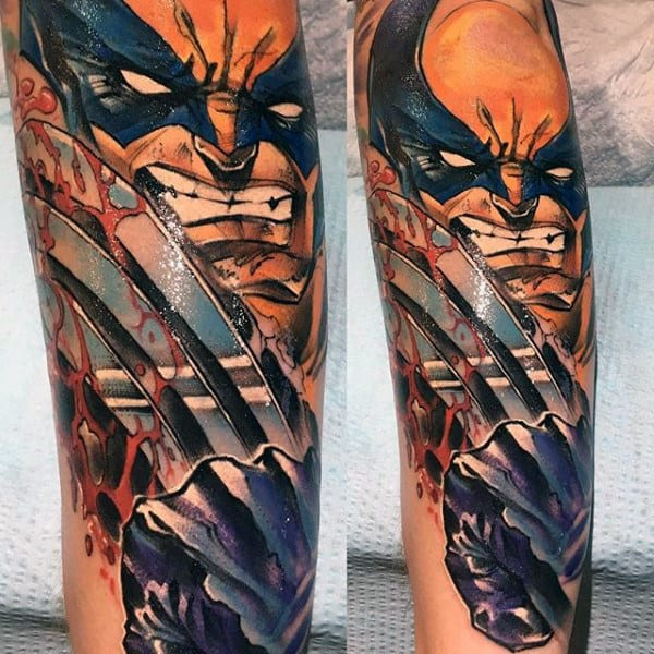 Mens 3d Wolverine Slashing Forearm Tattoos