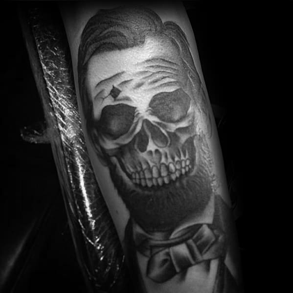 Mens Abraham Lincoln Skull Arm Tattoo Design Ideas