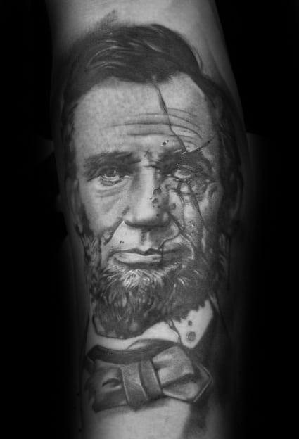 Mens Abraham Lincoln Tattoo Forearm Design Inspiration