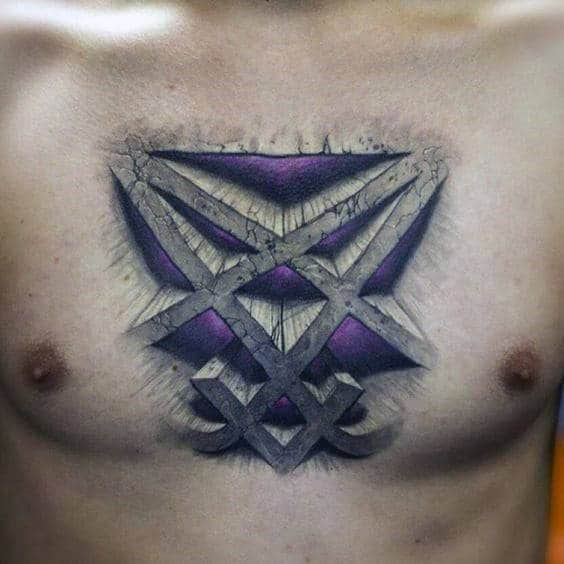 Mens Abstract 3d Stone Heartagram Chest Tattoos