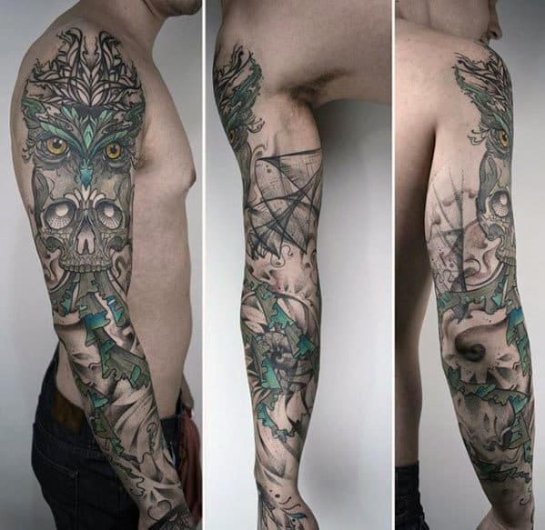 Mens Abstract Decorative Owl Skull Full Arm Sleeve Tattoos