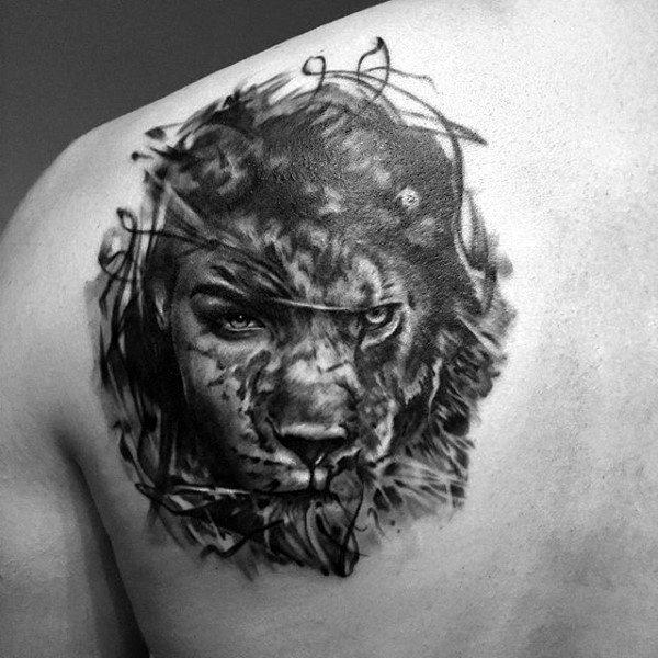 Men's Abstract Lion Tattoos On Back Of Shoulder