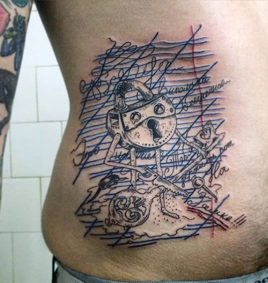 Mens Abstract Lock And Key Tattoo On Rib Cage Side