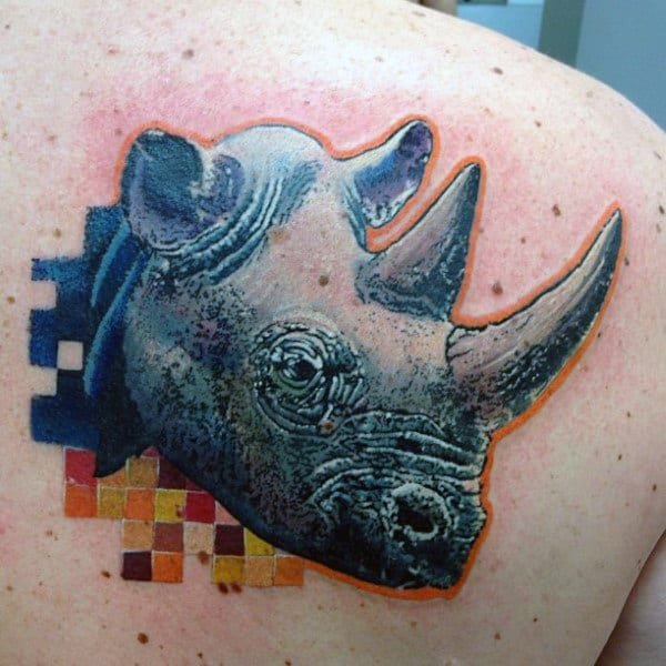 Mens Abstract Rhino Color Blocks Back Tattoo