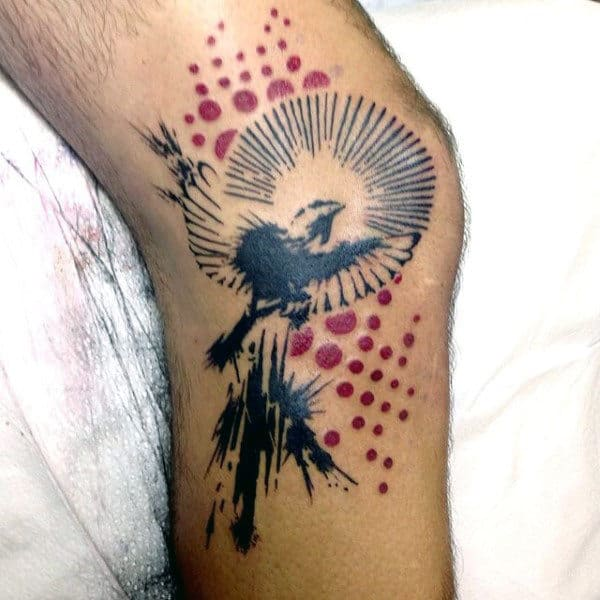 Mens Abstract Sparrow Tattoo With Red Dots Knees