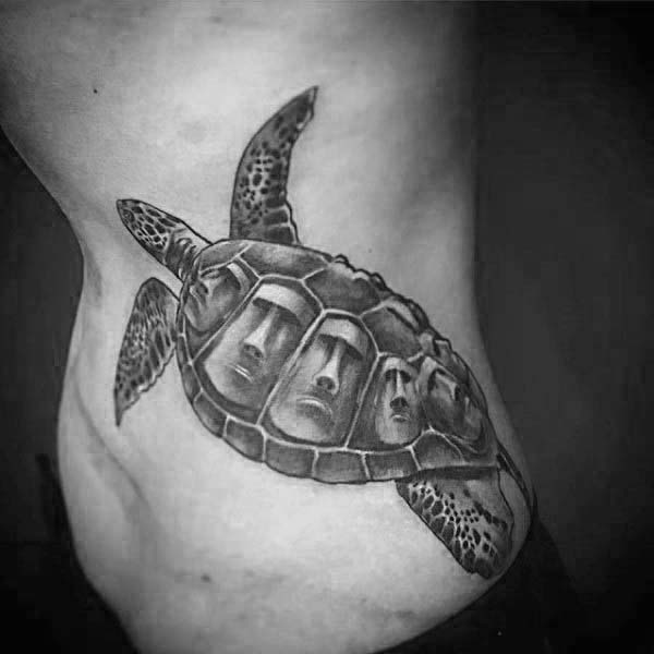 Mens Abstract Turtle Rib Cage Side Tattoos