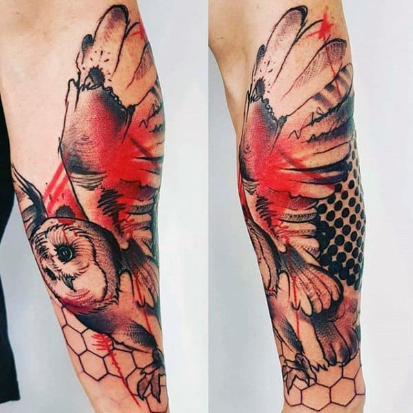 Mens Abstract Watercolor Red And Black Ink Owl Tattoo On Forearm