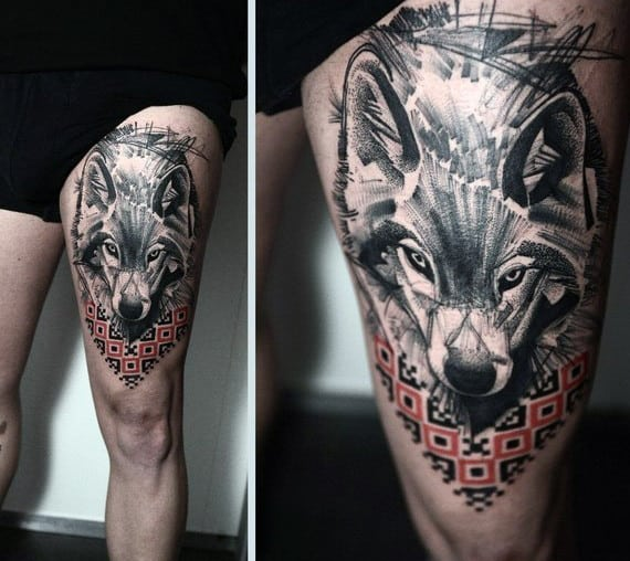 Mens Abstract Wolf Upper Thigh Tattoo Design