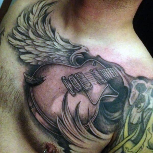 Men's Acoustic Guitar Tattoo With Wings