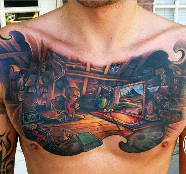 Mens Adventure Themed Painting Colorful Chest Tattoos