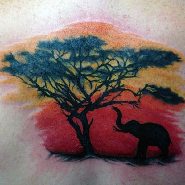 Mens African Elephant And Tree Sunset Tattoo On Back