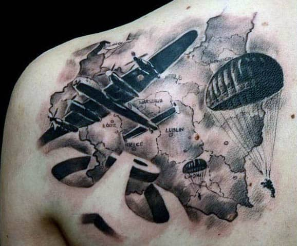 Mens Air Force Parachute Shoulder Map Tattoo