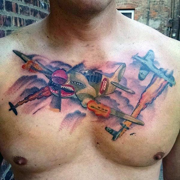 Mens Air Force Plane Chest Tattoos