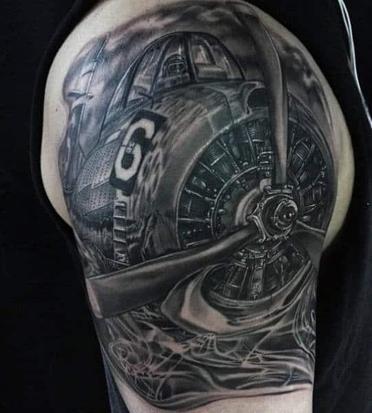 Men's Airplane Tattoo On Arm