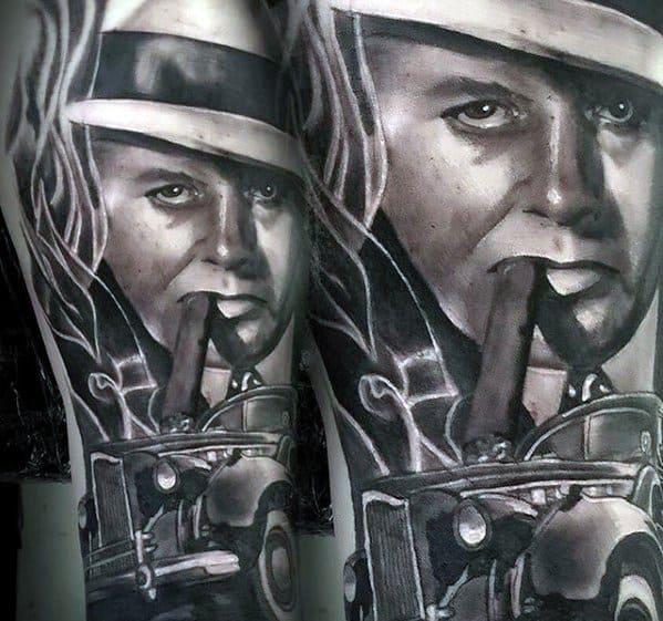 Mens Al Capone Leg Tattoo Design Ideas