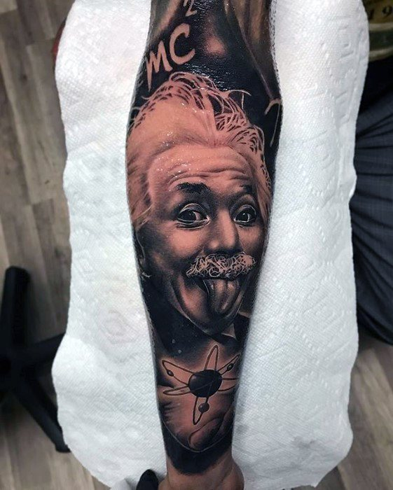Mens Albert Einstein Tattoo Design Inspiration Leg Sleeve