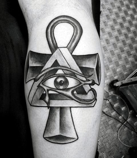 Mens All Seeing Eye Ankh Leg Calf Tattoos