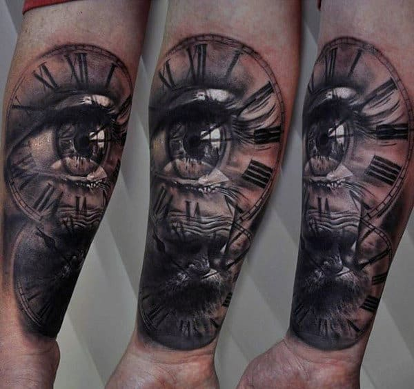 Mens All Seeing Eye With Clock Inner Forearm Tattoo