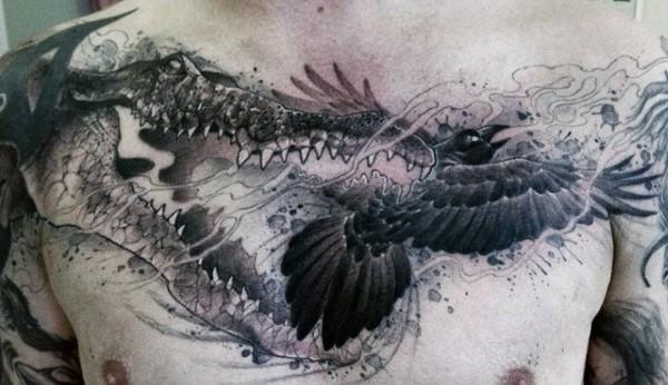 Mens Alligators In War Tattoo On Chest