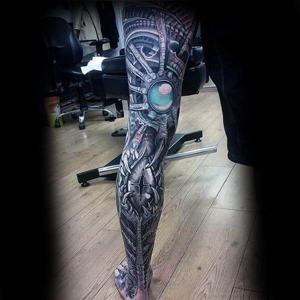 Mens Amazing 3d Full Leg Sleeve Tattoo Design Ideas