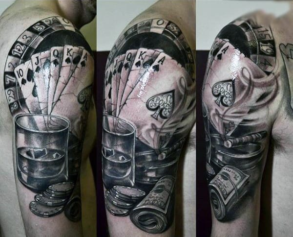 Mens Amazing Cards And Betting Money Tattoo Upper Arms