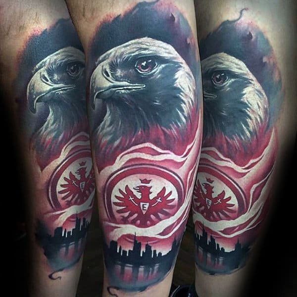 Mens Amazing Eagle Amazing City Skylien Forearm Tattoo Sleeve