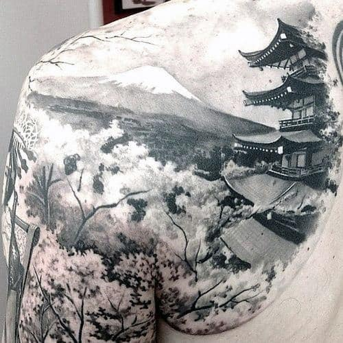 Mens Amazing Japanese Temple 3d Realistic Mountain Upper Back Shoulder Tattoo