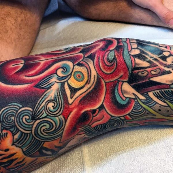Mens Amazing Leg Sleeve Tattoo Of Japanese Demon