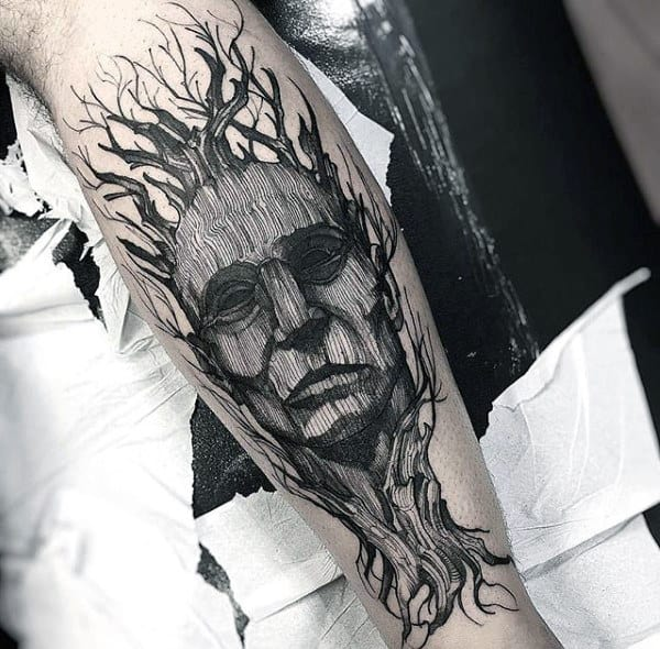 Mens Amazing Portrait Tree Leg Tattoos