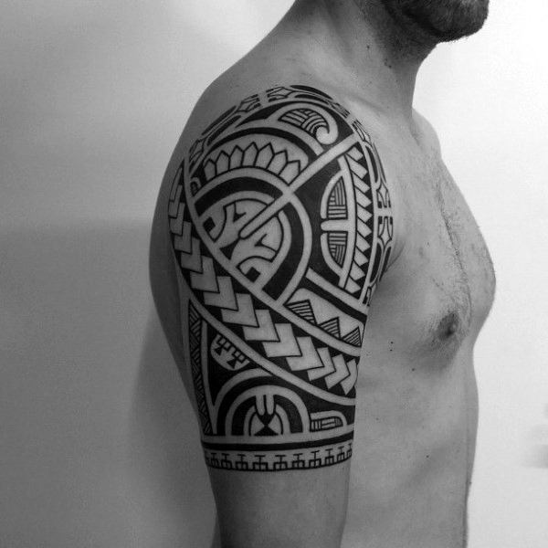 Mens Amazing Tattoo Design Of Tribal Half Sleeve