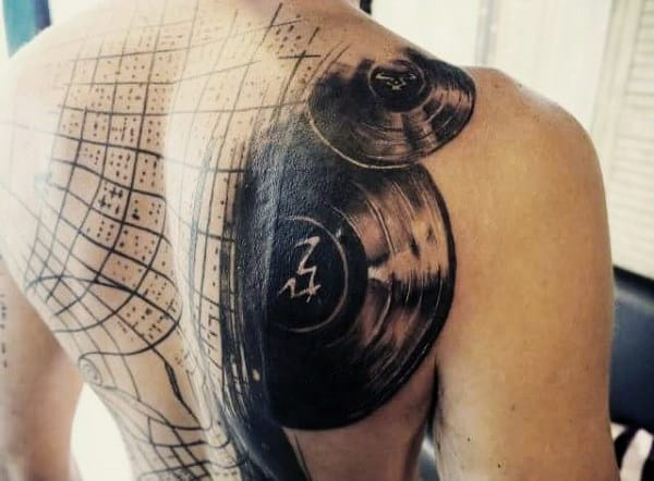 Mens Amazing Vintage Music Records Back Tattoo
