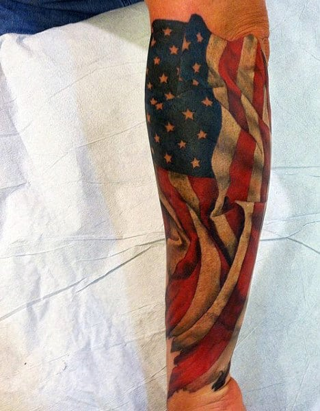 Mens American Flag Sleeve Tattoos