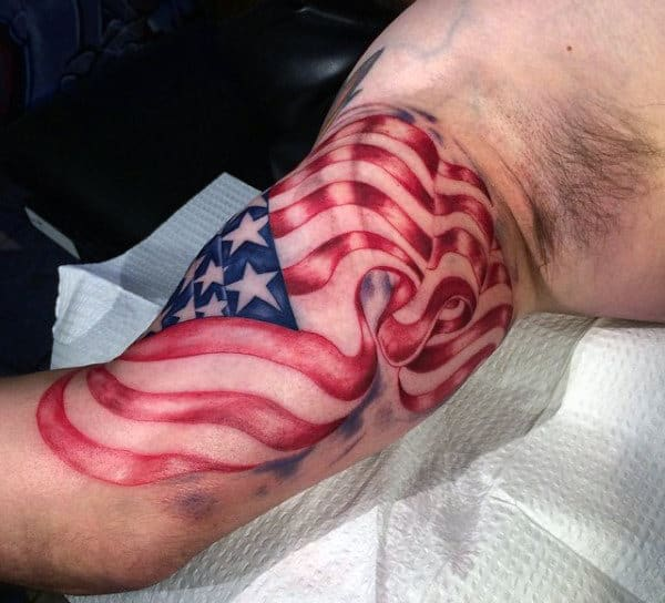 Mens American Flag Tattoo Designs On Bicep