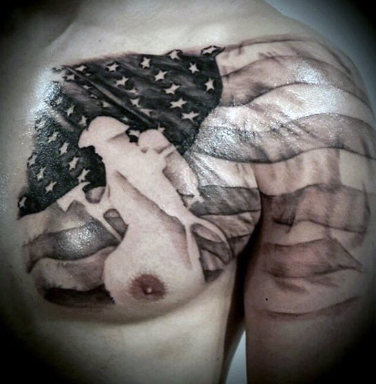Mens American Flag Tattoo Of Solider On Chest